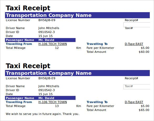 Free Taxi Receipt Template Doc Format  The Proper Receipt Format