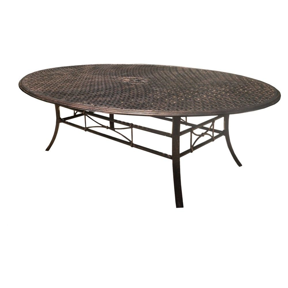 Tahoe Oval Cast Aluminum Dining Table   Shiny Copper (Brown)   Christopher  Knight Home