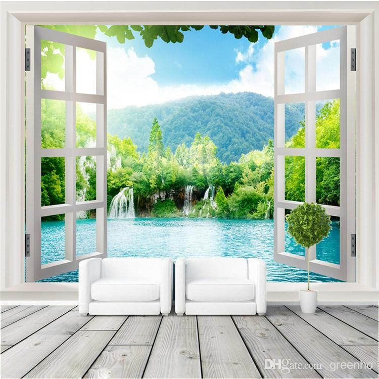 Window 3D Waterfalls Forest View Wall Stickers Art Mural Decal Wallpaper  Living Bedroom Hallway Childrens Rooms Part 74