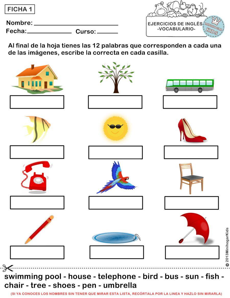 Con Estas 5 Fichas De Ejercicios De Vocabulario Fácil Para Los Niños As De Primaria Podr Ejercicios De Ingles Vocabulario En Ingles Material Escolar En Ingles