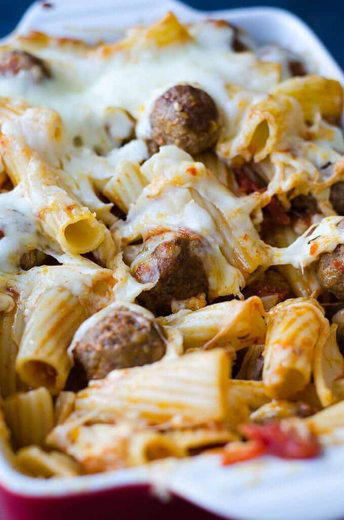 Cheesy Meatball Pasta Casserole   - food recipes -