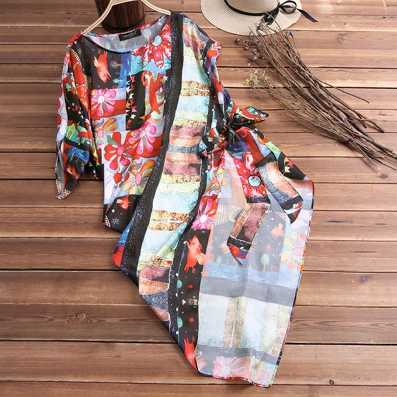 2018 Summer New Women Vintage Casual Loose Plaid In Long Irregular Shirt Women's Clothing