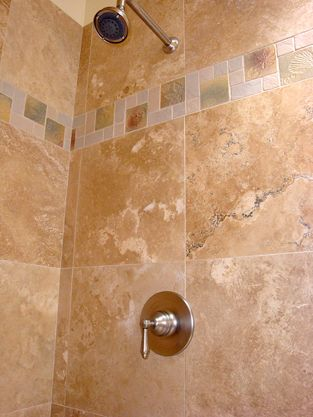 18 Inch Travertine Stone Tile With Rohl Valve Fixture