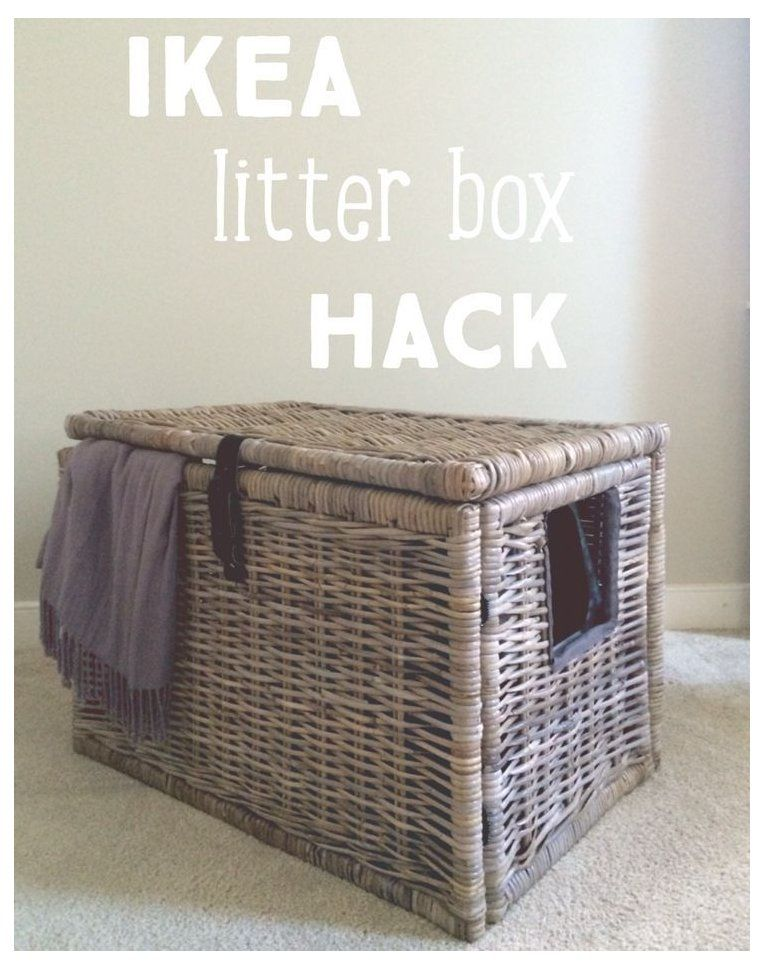 Super easy IKEA Hack, turn wicker chest into a secret litter box hide out