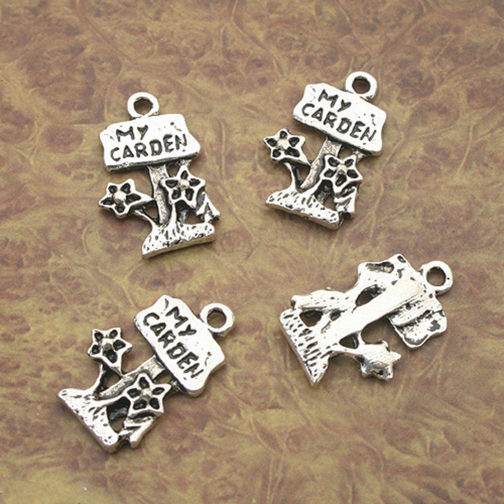 12pcs Tibetan Silver my carden flower charm pendants X0124