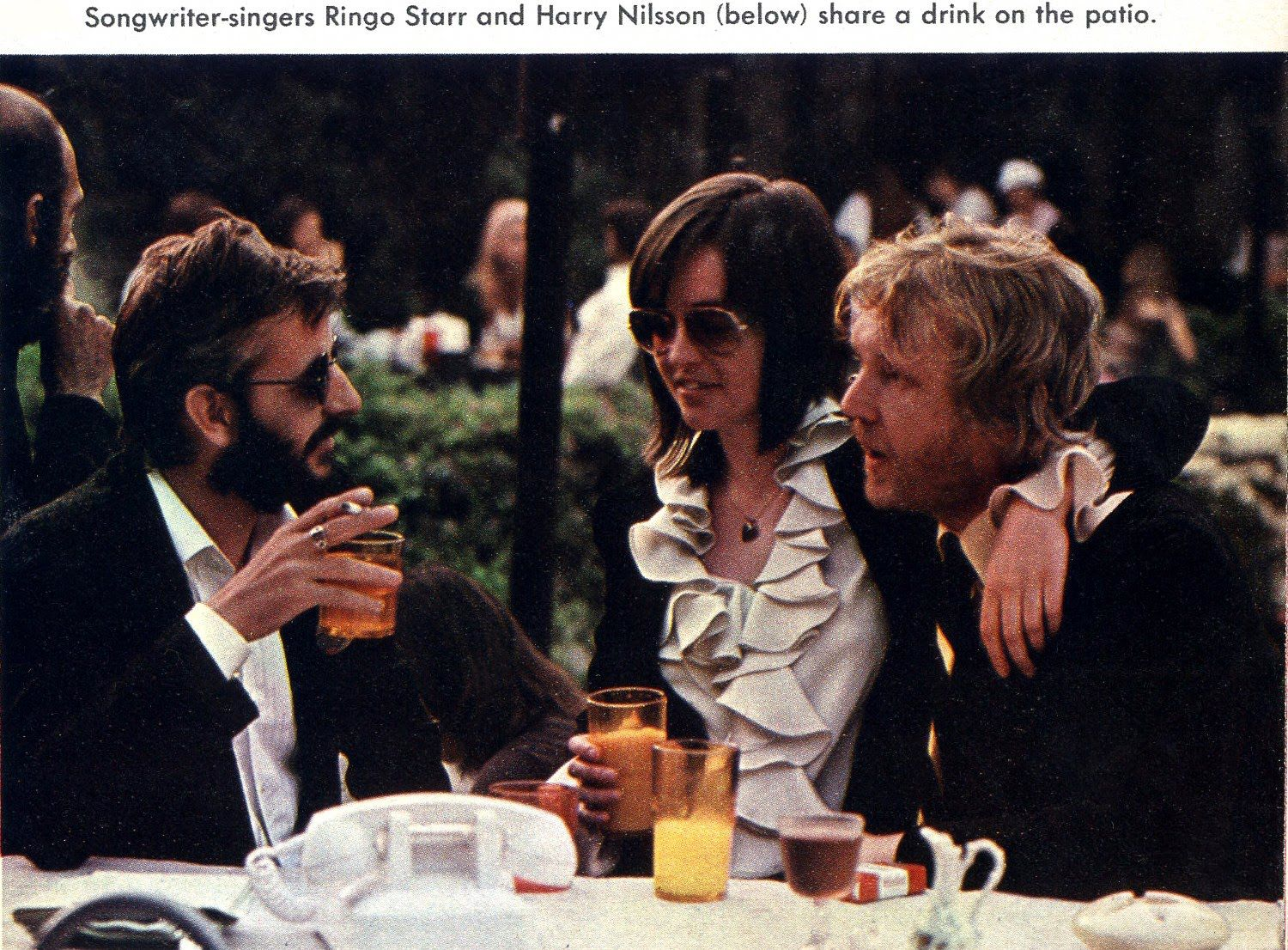 Ringo Starr and Harry - with future wife, Una O'Keefe - hanging at the Playboy Mansion West in 1974