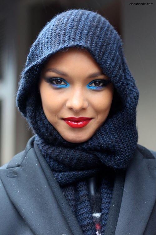 Lais Ribeiro after Gaultier Couture (with makeup)