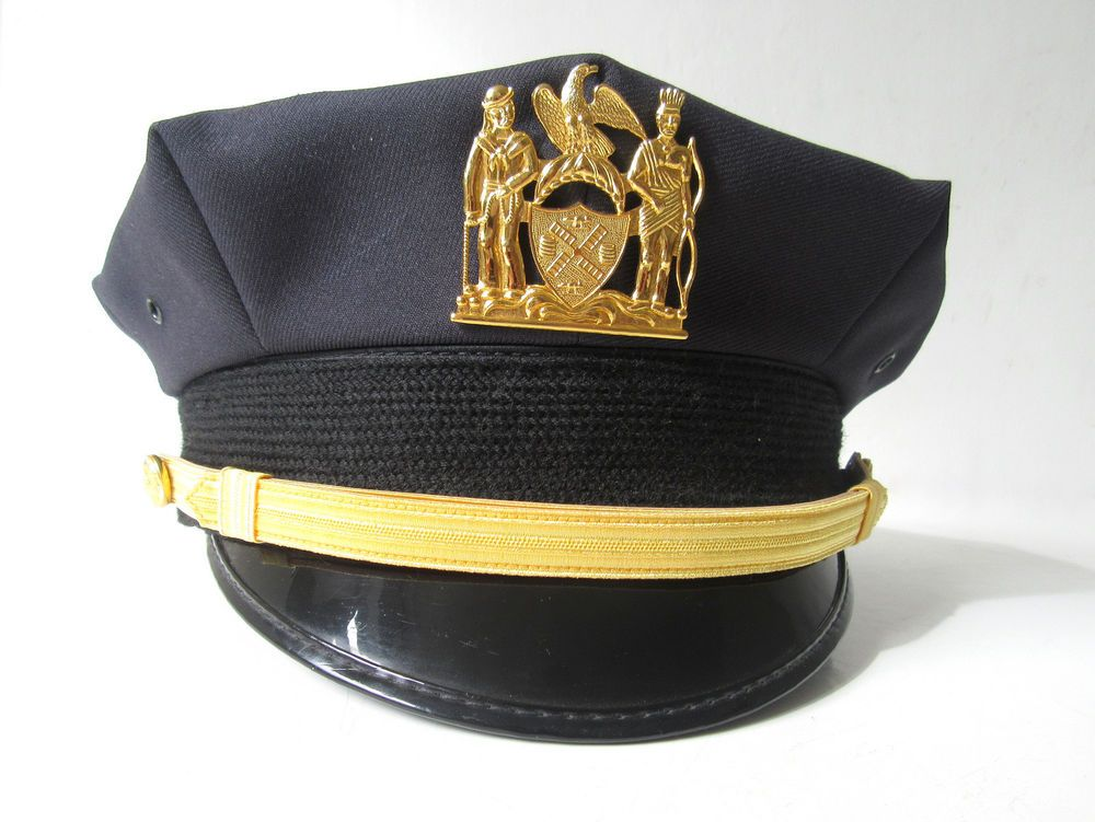 2b412b2ea46 Vintage Chic Obsolete New York City Senior Captain NYPD Police Visor Cap Hat