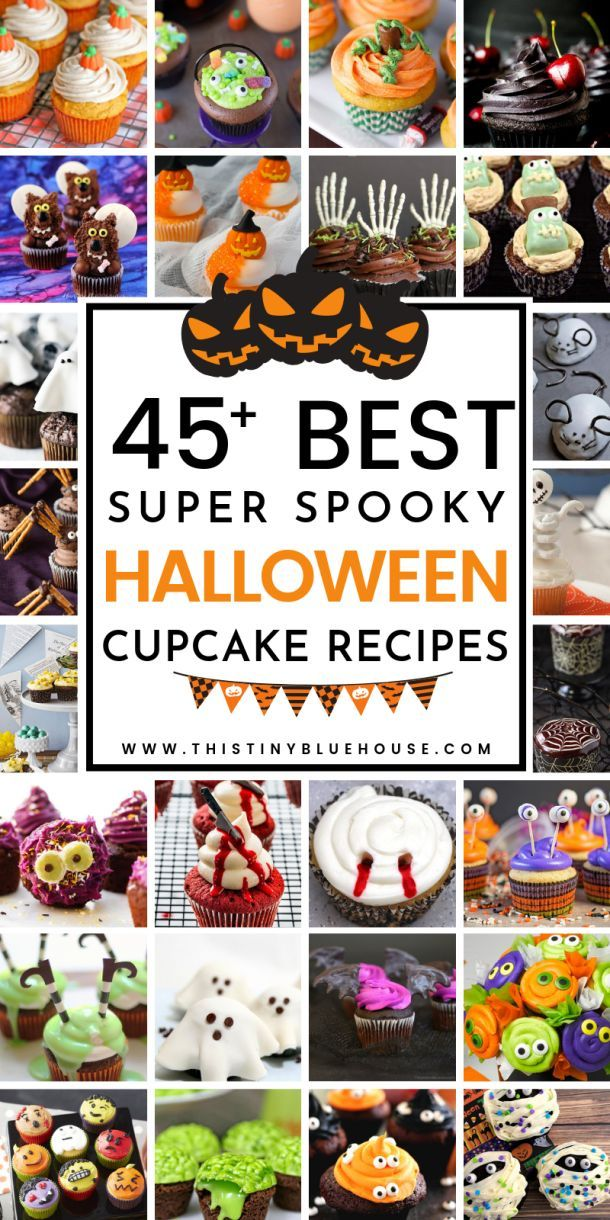 45+ Spooktacular Halloween Cupcakes - This Tiny Blue House #halloweencupcakes