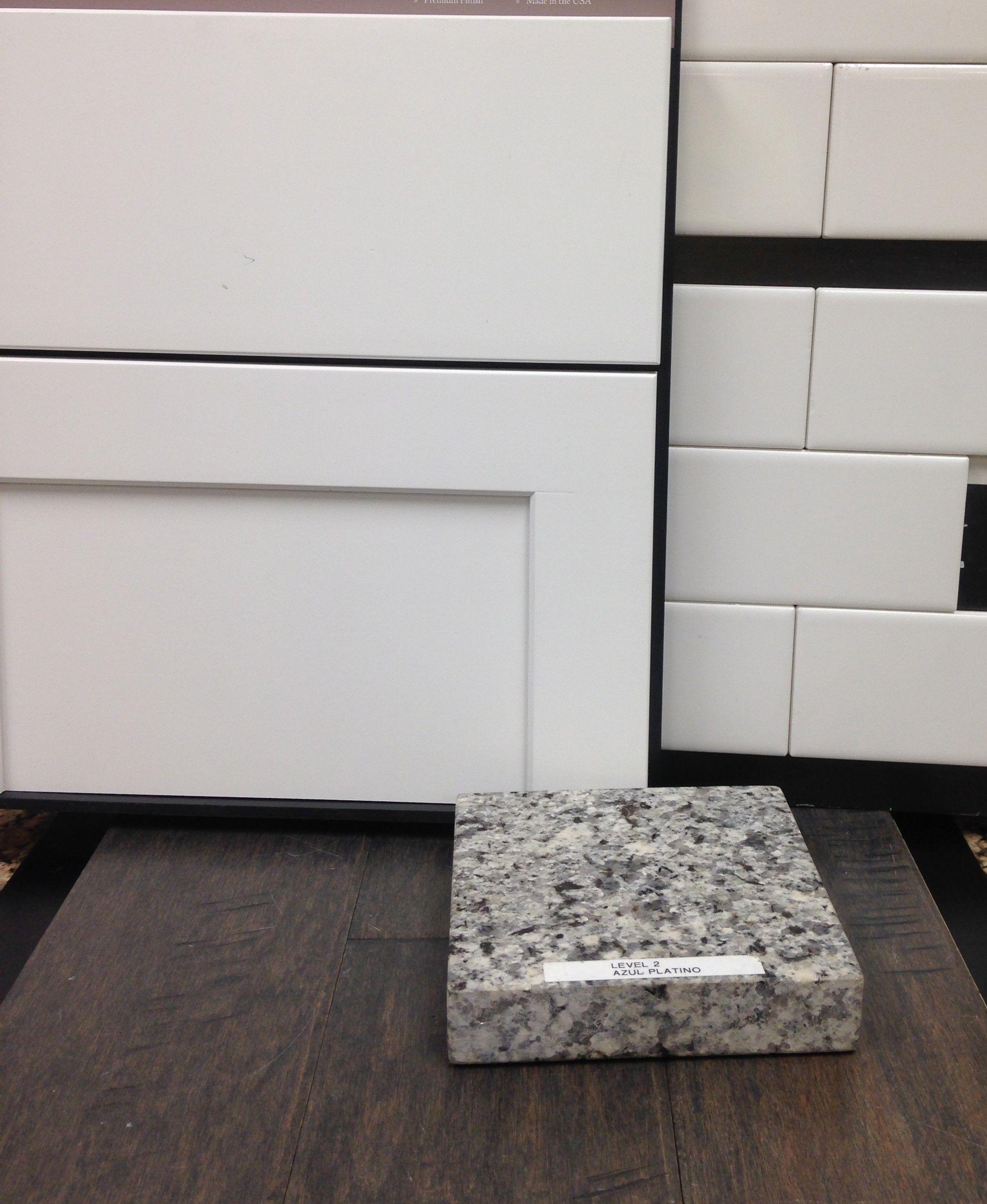 Painted Linen Cabinets White Subway Tile Backsplash Azul Platino Granite Kitchen Remodel Design Replacing Kitchen Countertops Granite Countertops