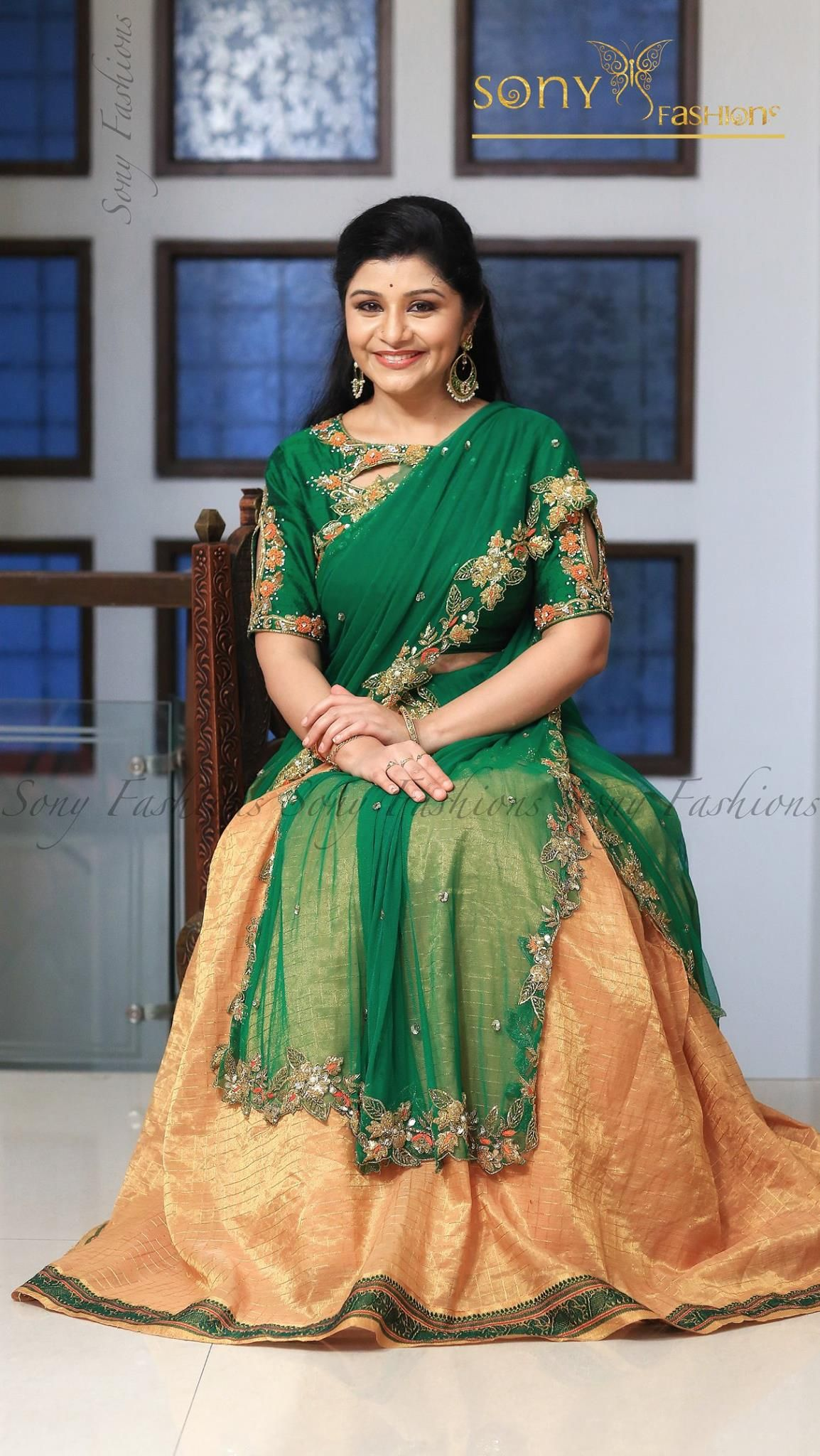Beautiful kanjeevaram lehenga and green designer blouse with hand embroidery thread work.