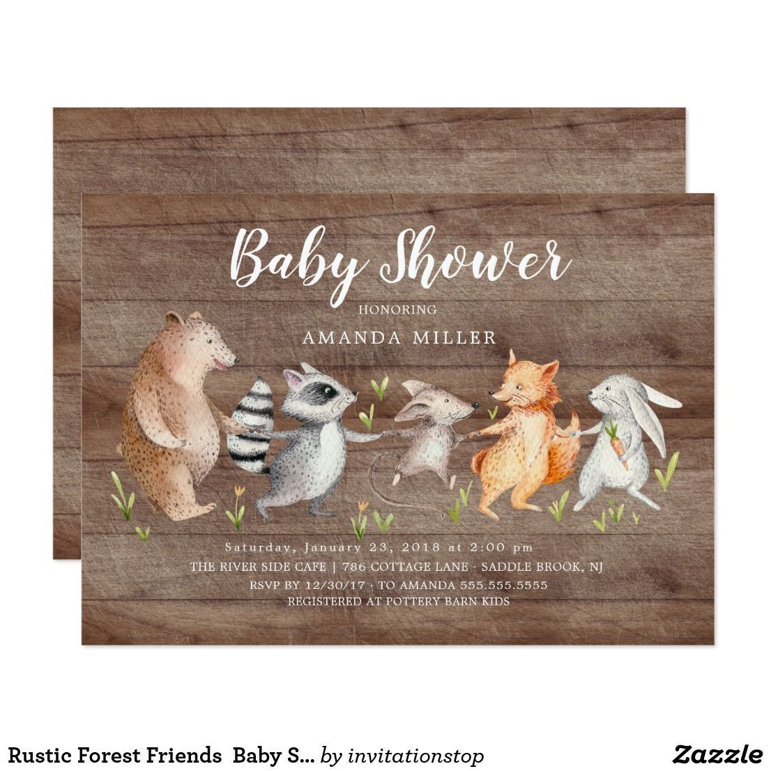 Baby Shower Rustic Forest Woodland Animal Friends Baby Sh