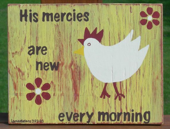 Wood Scripture Sign, His mercies are new every morning, Lamentations ...