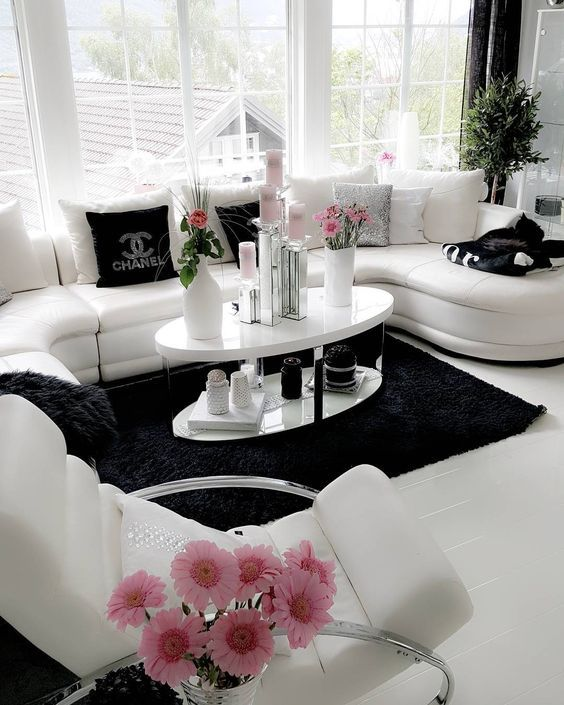 White Black Pink Living Room Designs Home Home Decor