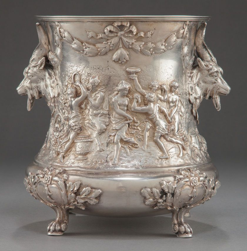 AN ITALIAN SILVER WINE COOLER. Maker unknown, Italy, circa 1900.