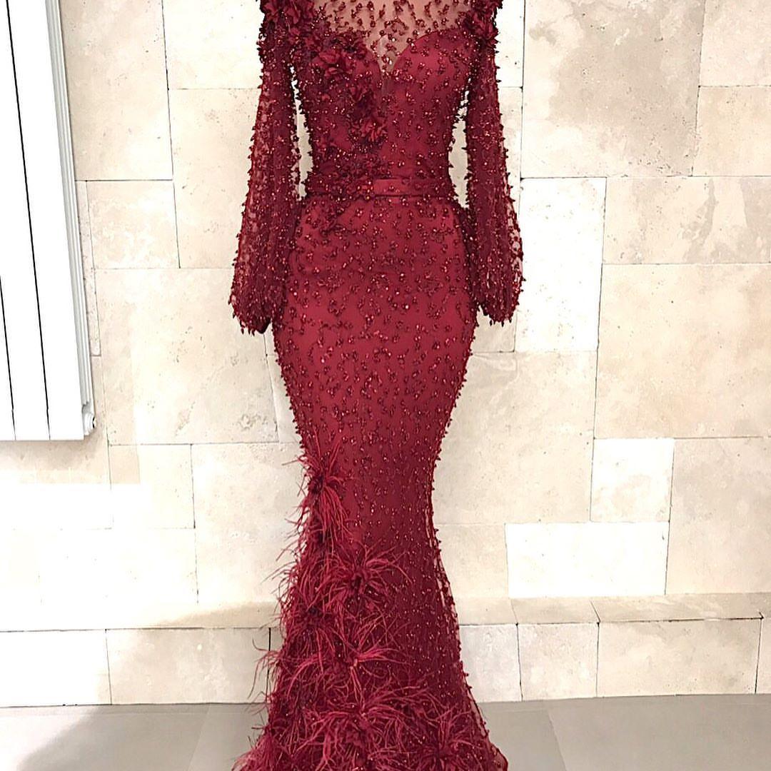 Fashion Abendkleider Lang Spitze Rot  Abiballkleid Mit