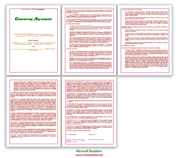Agreement Templates, Business Agreements, Consulting Agreement - microsoft word contract template