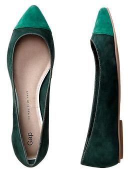 Cap-toe pointy flats. Tropic green. Gap.