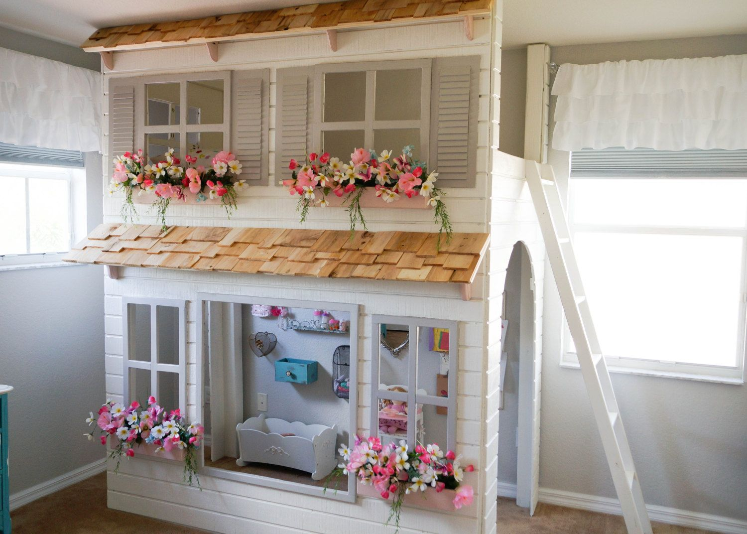 Custom Dollhouse Cottage Loft Bed With Play Area Pick Your ...