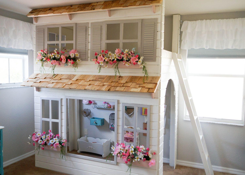 Layla's Dollhouse Loft Bed, Play Area Underneath. Options