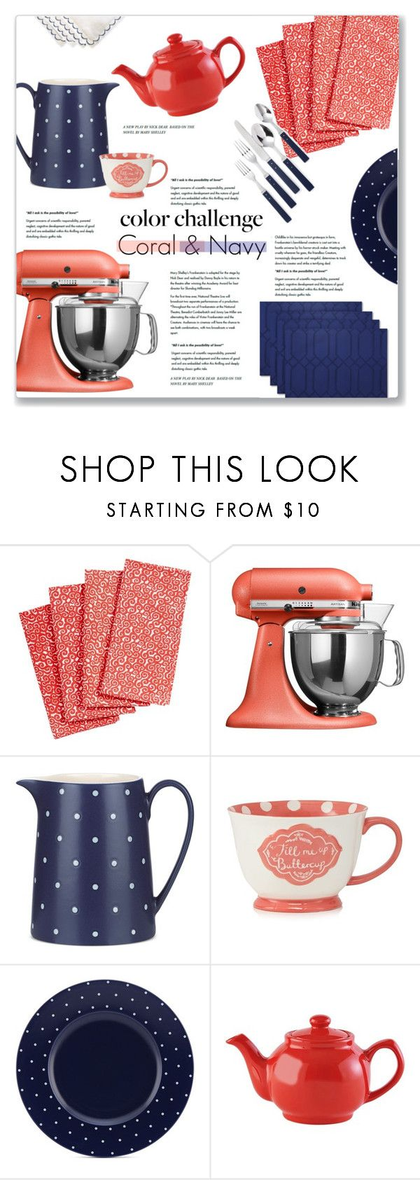 Coral & Navy Kitchen Accessories\