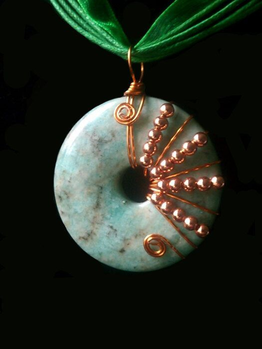 Photo of Items similar to Wire Wrapped Amazonite Donut EMF/Health Pendant on Etsy –  Wire…
