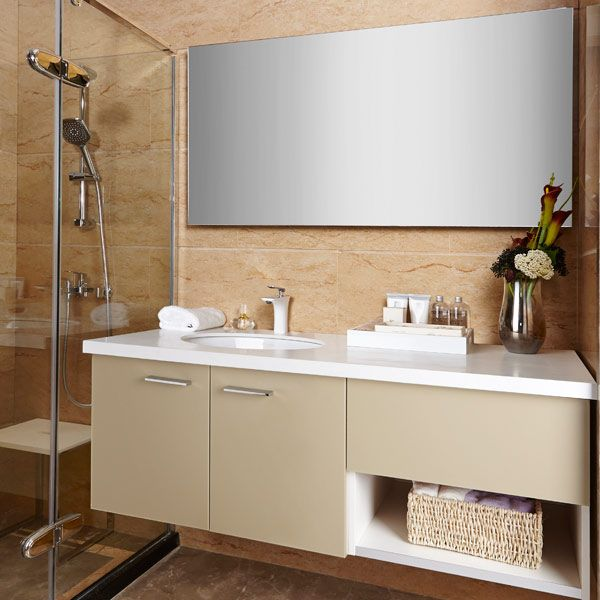 2017 New Olive Yellow Acrylic Semi Open Whole Bathroom Cabinets
