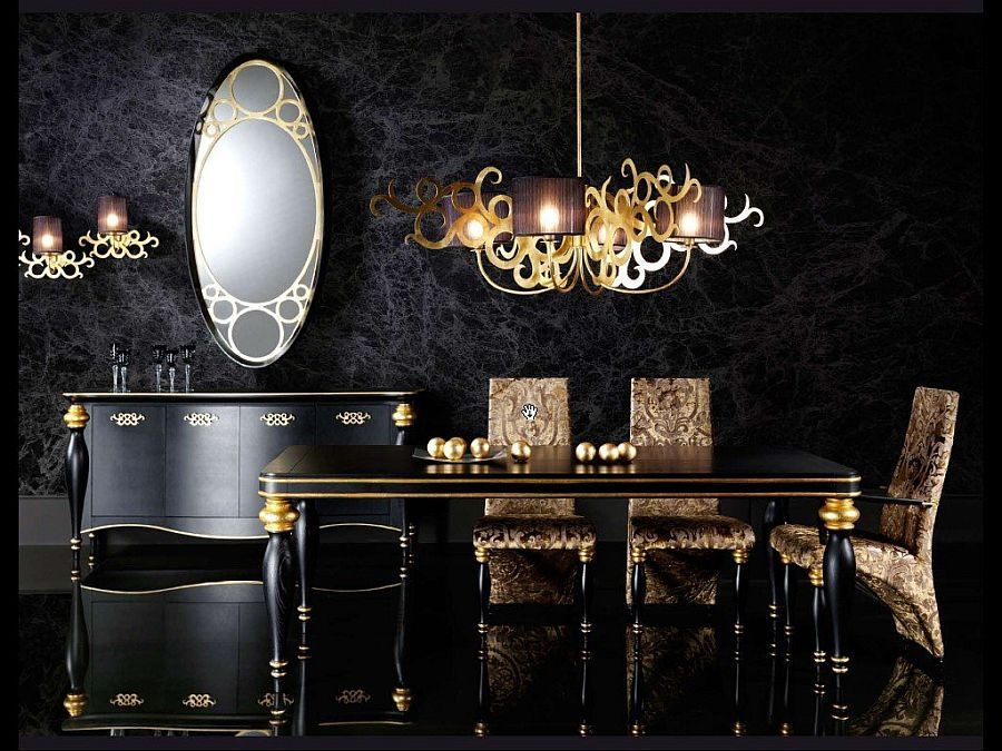 Stunning Dining Room In Black With Hints Of Gold   Decoist