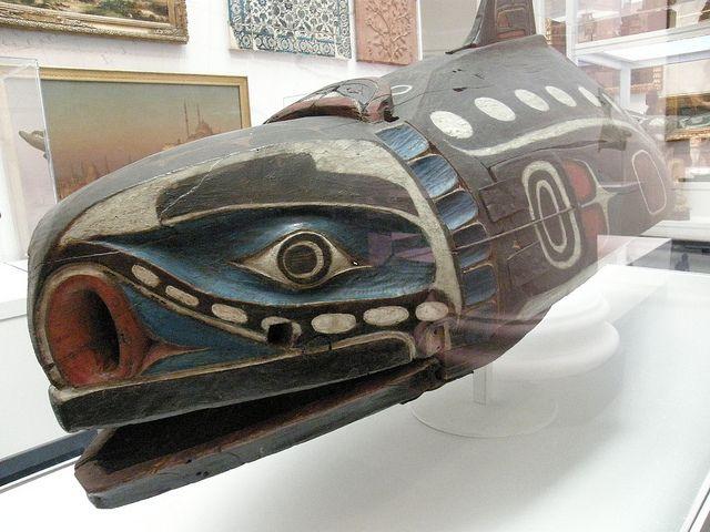 Baleen Whale Mask; 19th century Unidentified Kwakwaka'wakw artist  Victoria, Vancouver Island, British Columbia, Canada  Cedar wood, hide, cotton cord, nails, pigment  www.brooklynmuseum.org