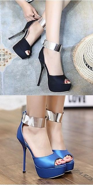 Keep up a modern and stylish look with this gorgeous heels with a metallic  ankle trap d16c1d794ded