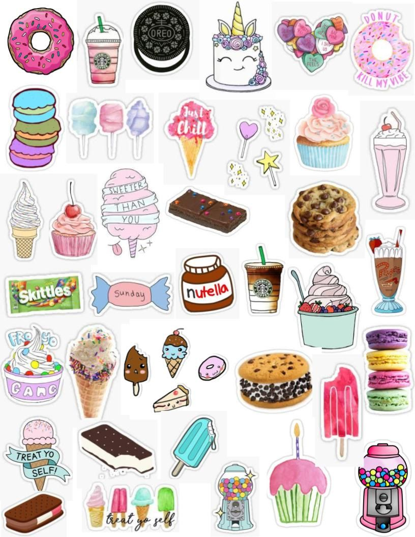 Cute tumblr food dessert sticker pack donut sticker starbucks sticker cake sticker cupcake sticker gumball sticker