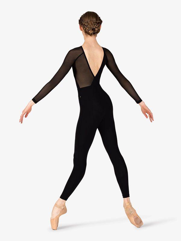 "Womens ""Gabriela"" Mesh V-Back Dance Unitard | Mesh long ..."