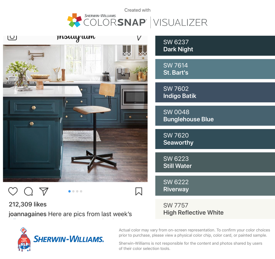 I Found These Colors With Colorsnap Visualizer For Iphone By Sherwin Williams Dark Night Sw 6237 St B Accent Wall Paint Colors Blue Cabinets House Colors [ 1088 x 1158 Pixel ]