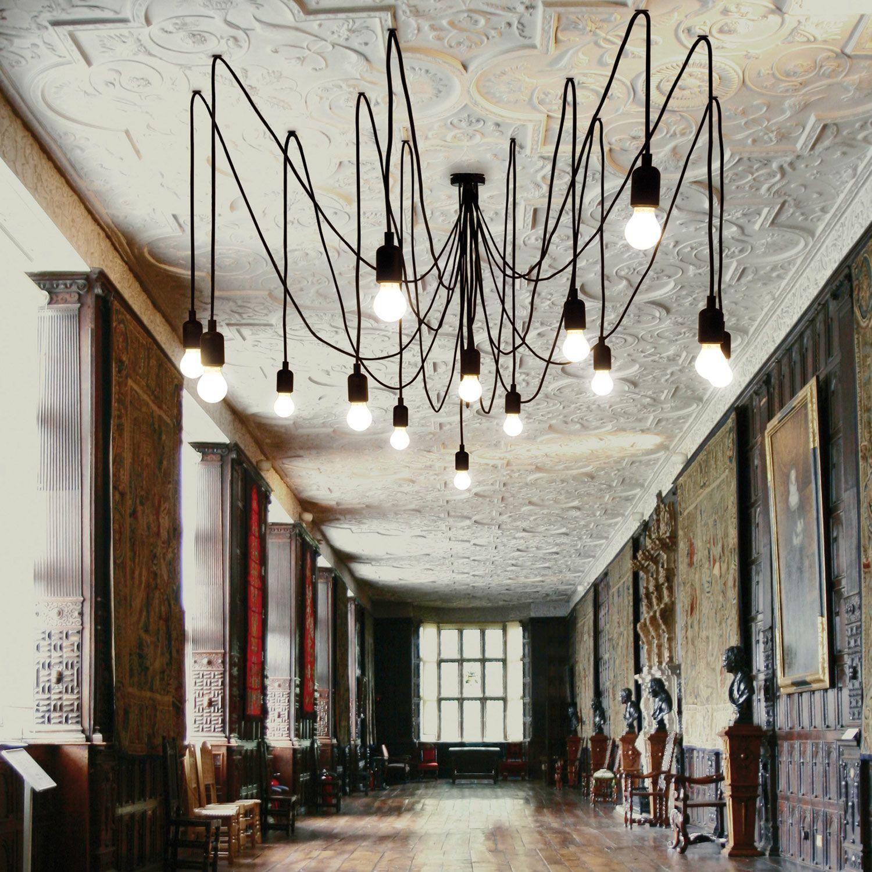 Lustre modulable posé d une rosace de plafond noir et de 14