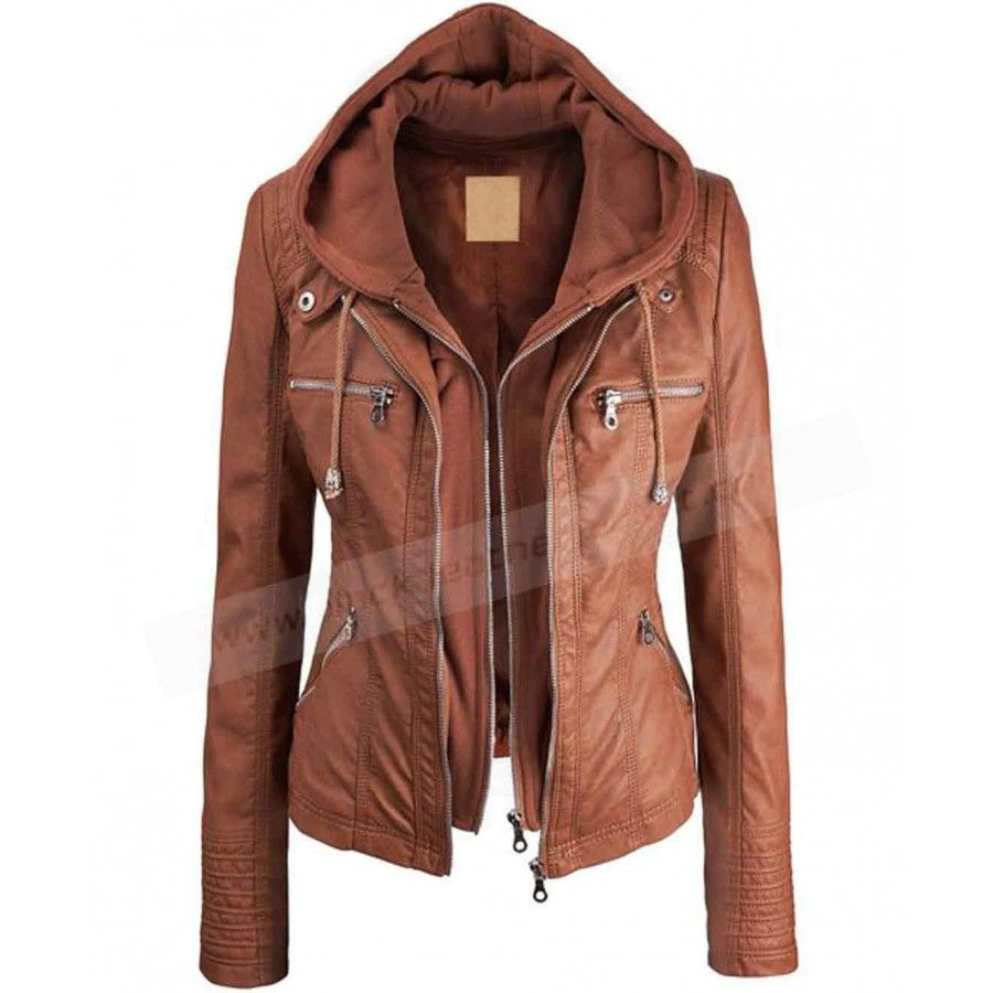 Faux Leather Hooded Jacket | Womens Brown Jacket with Hood