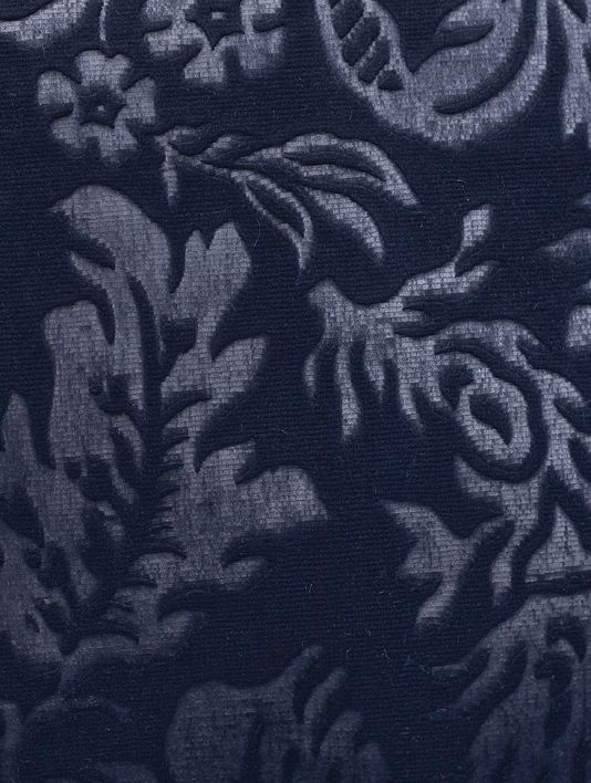 Bougainville Velvet Damask Navy Blue Suitable For Contract Curtains And Upholstery