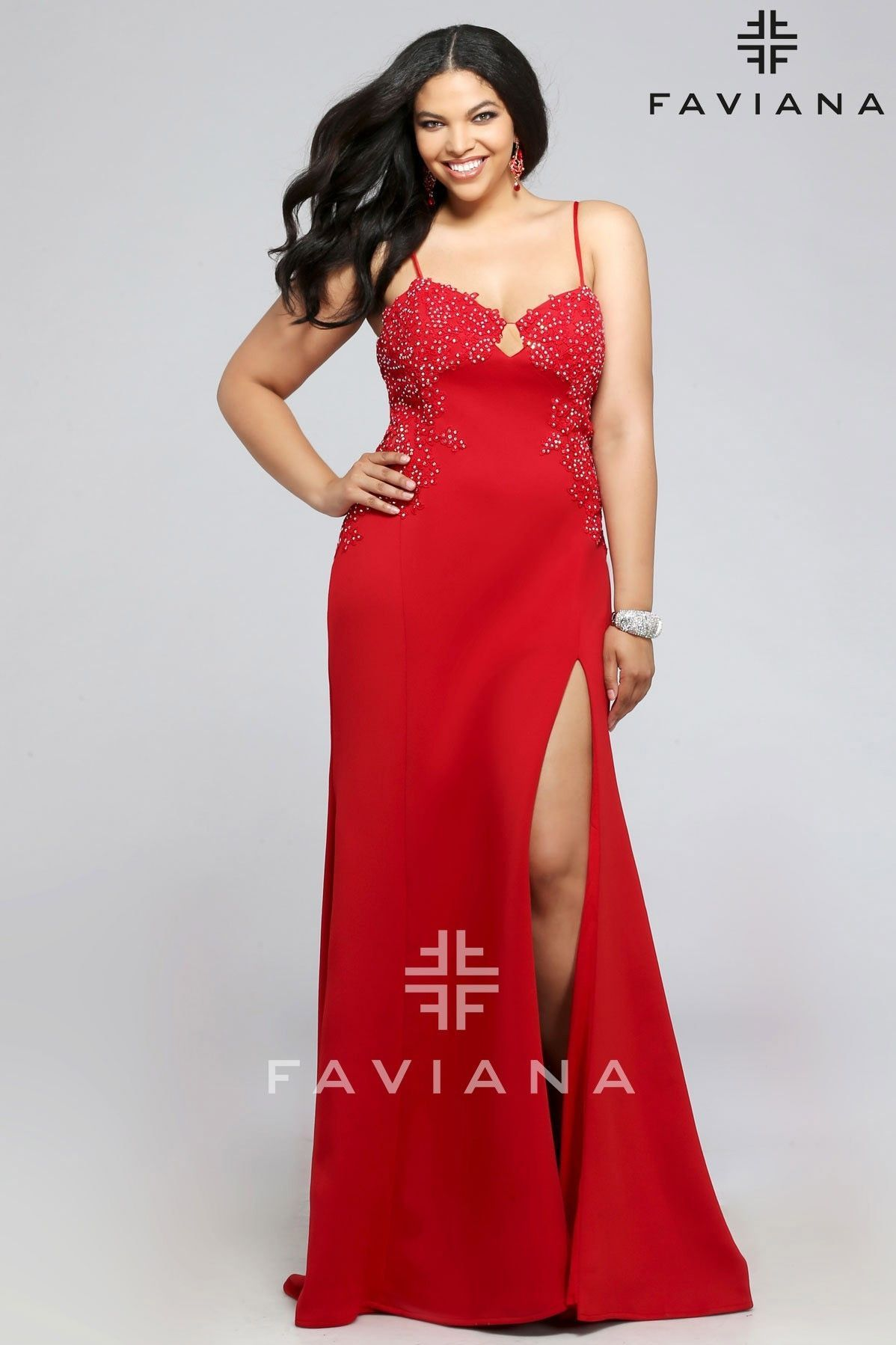 7a5bd5a7686 Faviana 9383 Rhinestone Lace Sweetheart (Available in Red and Black)