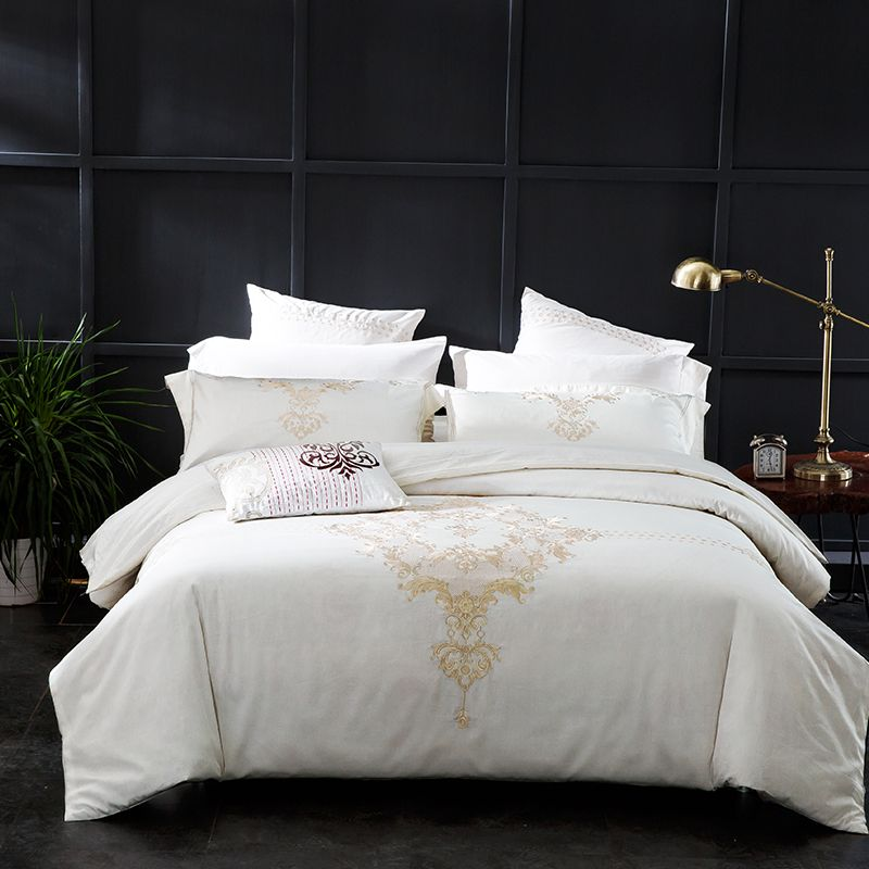 Embroidered Luxury Royal White Duvet Cover Set With Sheet Pillowcases Price 156 48 Free Shipping B Duvet Bedding Sets Luxury Bedding Sets Bedding Sets