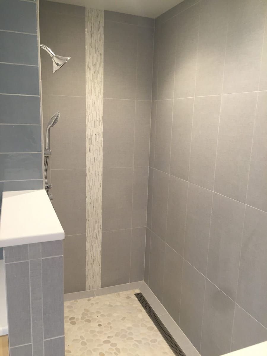 Large 12 215 24 Tile On Shower Wall With Vertical Akdo Heavy