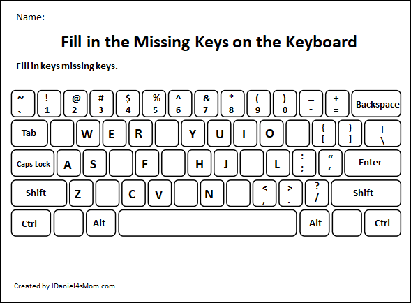 Learning The Computer Keyboard Layout Fill In The Missing Letters All Over The Keyboard Computer Lab Lessons Computer Keyboard Keyboarding