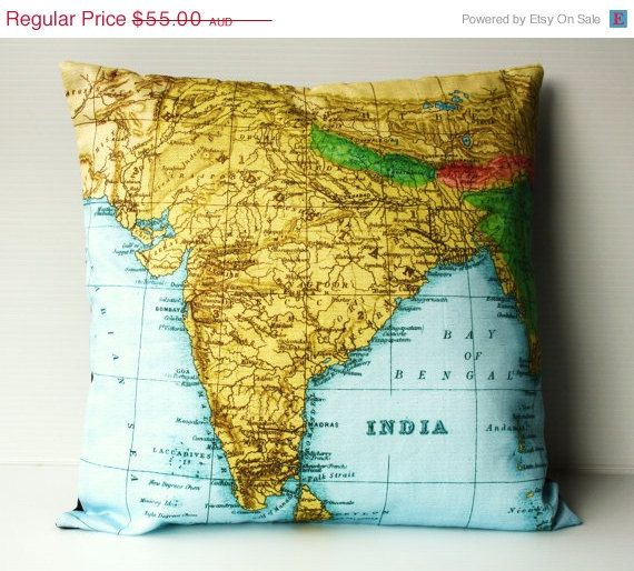 SALE SALE SALE Pillow Cushion Cover India And By Mybeardedpigeon - Decorative maps for sale