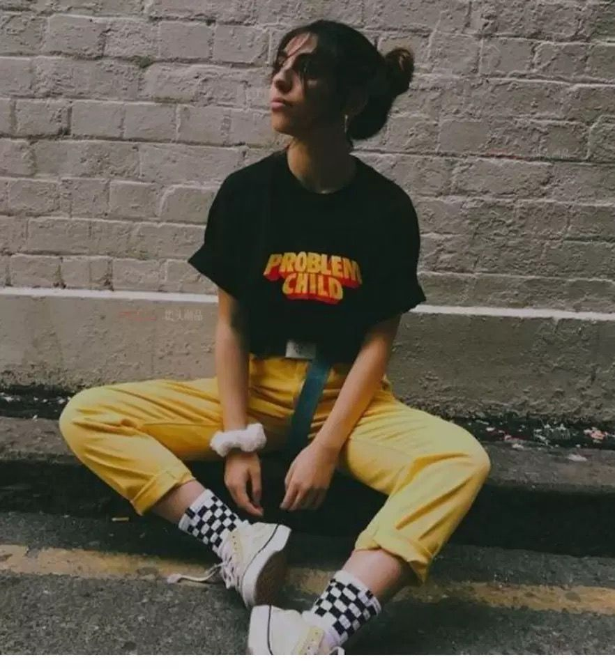 Problem Child Aesthetic Black T Shirt Unisex Grunge Skater Printed