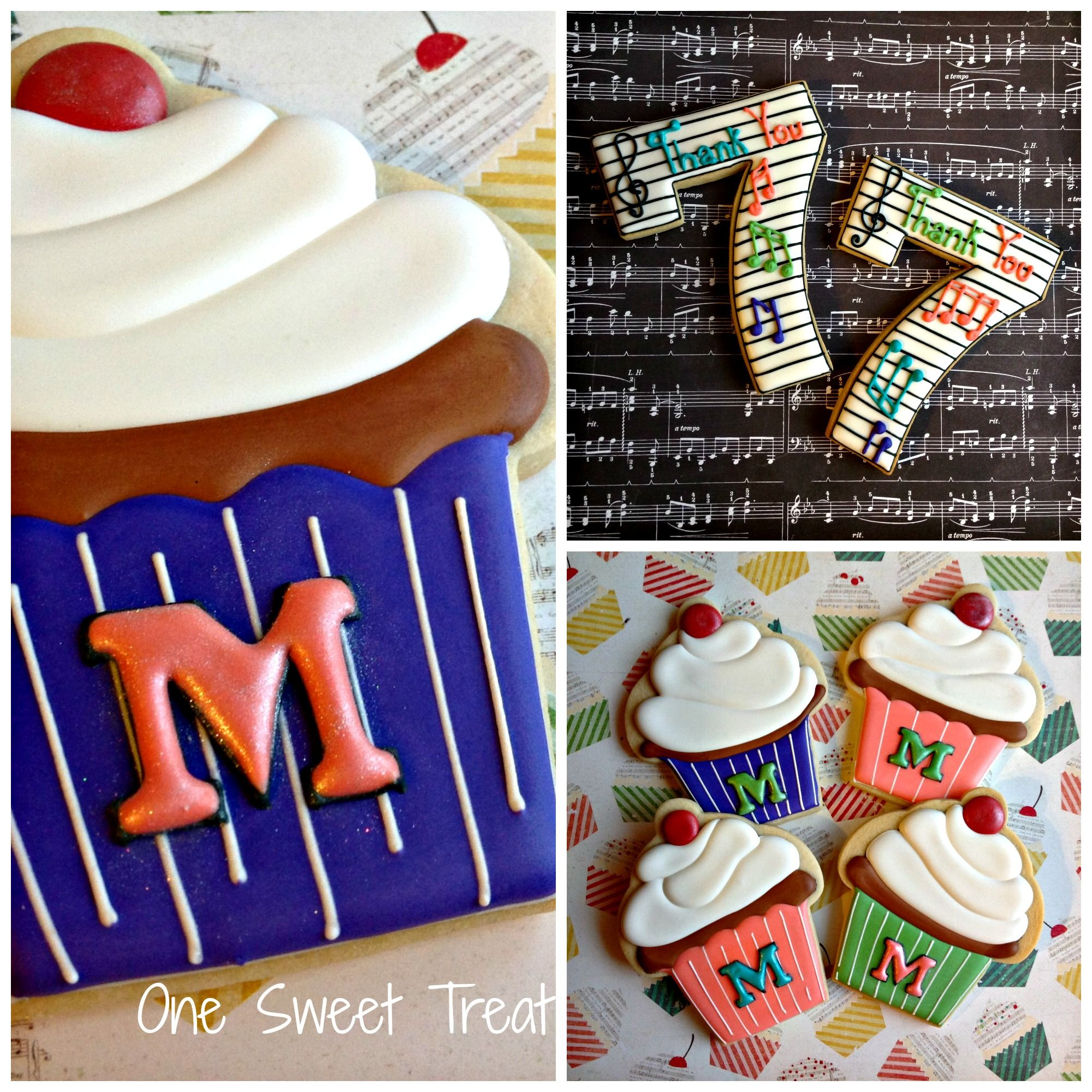 Cupcakes and numbers sugar cookies with images
