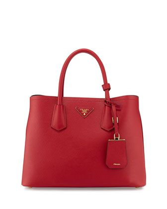 dea1cf960d6b96 Saffiano Cuir Small Double Tote Bag, Red (Fuoco) by Prada at Neiman Marcus.