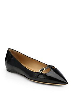 Salvatore Ferragamo - Patty Patent Leather Point-Toe Flats