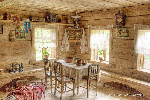 картинки деревенская изба внутри