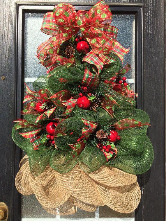 Christmas Tree Wreath; Deco Mesh Lighted Christmas Tree Wreath