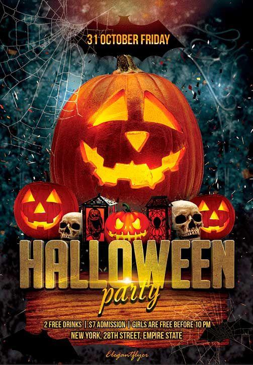 Halloween party free flyer psd template http freepsdflyercom halloween party free flyer psd for Halloween psd