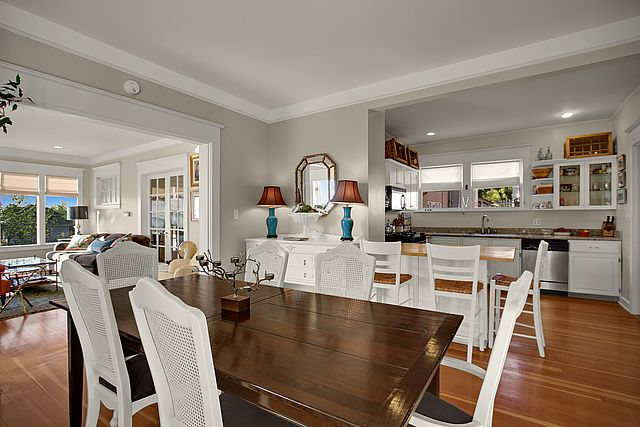 view real estate for sale dining room living room kitchen open concept