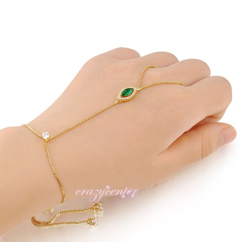 Snake Adjustable Slave Finger Ring Hand Chain Bracelet Wrist Jewelry Gold